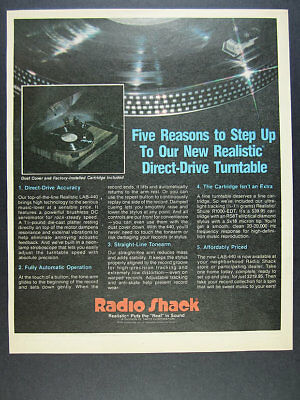 1982 Realistic LAB-440 Turntable color photo Radio Shack vintage print Ad