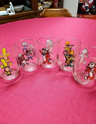 Vintage 1977 Kelloggs Cereal Characters Glasses Tony The Tiger And Others 5 Tota