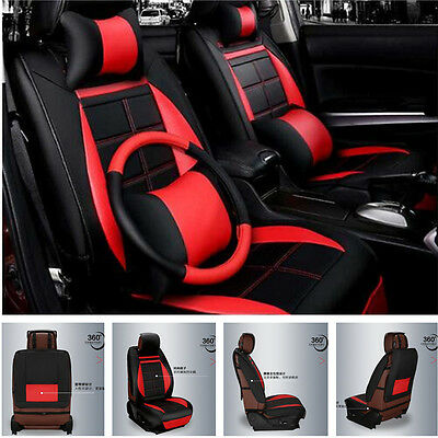 5-Seats Car Seat Chair Cover Full Front+Rear Cushion Deluxe PU leather W/Pillow