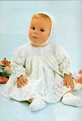 Baby Knitting Pattern copy 3 Ply Feathersoft Dress Matinee Jacket Bonnet Bootees