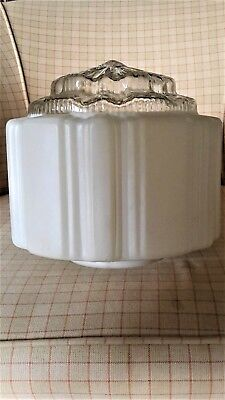 1920-30's Vintage Art Deco Stepped Glass Light Shade, White/Clear Glass EUC