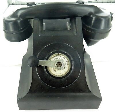 .vintage Black Bakelite Reception / Hotel Room Hand Crank Telephone With P.w.b.