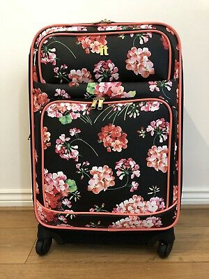 It luggage Medium Soft Suitcase Black with floral design Light Weight Suitcase