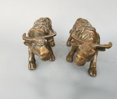 Chinese pure brass gold money cow a pair