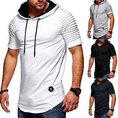 Mens Hoodie Tee Shirt Short Sleeve Summer Casual T-Shirt Gym Fitness Sweatshirt