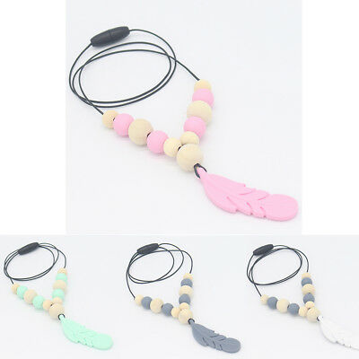 Silicone Feather Beads Teething Necklace Baby Chewable Teether Sensory Jewelry