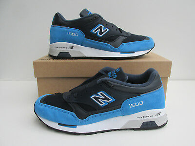 NUOVO CON SCATOLA NEW BALANCE 1500 EBN UK 7 Navy in Pelle scamosciata/Royal Blue