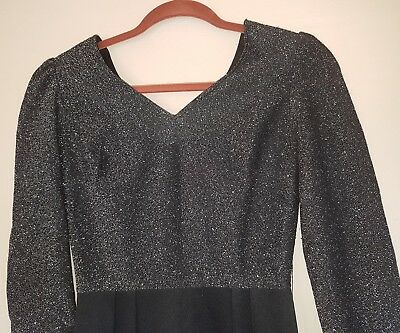 Black Silver Sparkle Cocktail Dress Long Sleeves Jonathan Summers Sz 6-8 Vintage