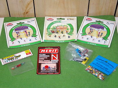 N Scale People Figures (Approx. 140) And Cars - Brand New In Sealed Packs!!