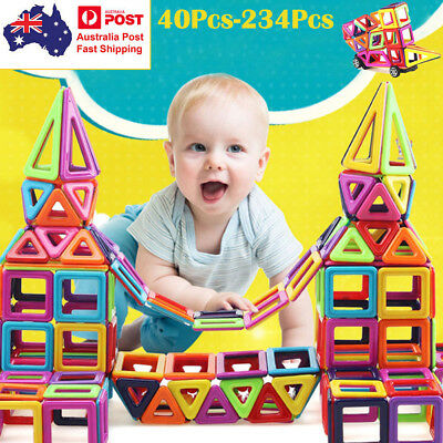 234PCS Magnetic Building Blocks Construction Educational Kids Magic Toy Gift AU