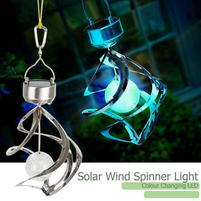Outdoor Solar Powered LED Spiral Wind Spinner Light Garden Lamp Color Changing