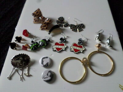 Lot bijoux broche boucles pinup rockabilly Bettie Sourpuss vintage
