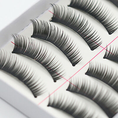 10 paires maquillage fait à la main naturel épais Faux Cils Long Cils Extension