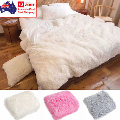 Long Pile Plush Sherpa Throw Blanket Super Soft Plush Fur Warm Shaggy Reversible