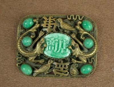 BROCHE ANCIENNE EN METAL DORE PIERRE DURE DRAGONS CHINE OU MAX NEIGER DEBUT XXe