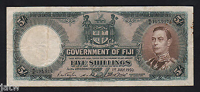 FIJI P-37j. 1950 Five Shillings..   George VI Portrait..  aVF