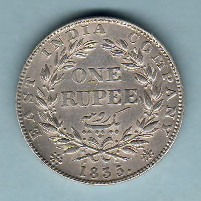 India. 1835 William 1111 - One Rupee.. F Incuse.. Much Lustre.  EF/gEF