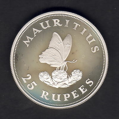 Mauritius. 1975 25 Rupees.. Butterfly..  Silver Proof