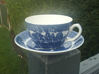 GEORGE JONES & SONS CRESCENT China Blue & White WILLOW Pattern CUP & SAUCER V Gd