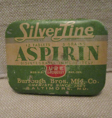 Vintage Advertising Tin-SILVERLINE ASPIRIN-Medicine-BURROUGH BROS.-BALTIMORE MD