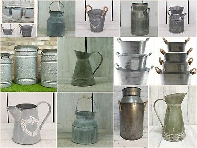 Rustic Zinc Milk Churn Metal Garden Planter Flower Pot Urn Vintage Style NEW