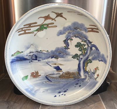 "Rare Antique 19th C. Japanese Large 18"" Porcelain Bowl Charger Imari Arita"