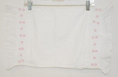 All About Blanks Smocked Edge Baby Pillow Case White With Pink Roses