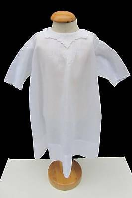 Vintage hand made and embroidered white baby dress long sleeve white work