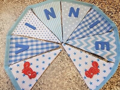 BLUE MIX PERSONALISED DINOSAUR BUNTING ANY NAME-£1 PER FLAG-FREE P/&P