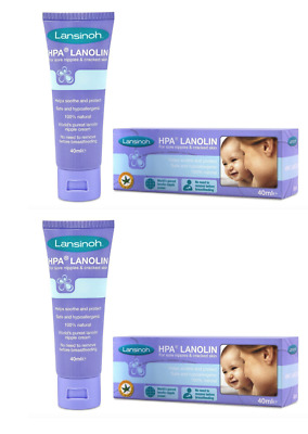 2 x Lansinoh HPA Lanolin Cream for Sore Nipples and Cracked Skin 40ml