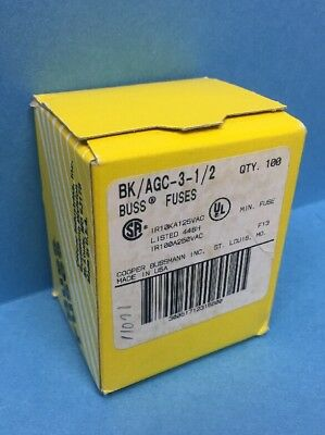 Box of 100 BK/AGC-3-1/2 Cartridge Fuses 250VAC 3.5A Fast Acting IR100A250VAC