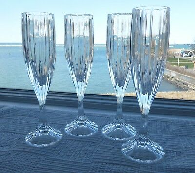 "4 Mikasa Park Lane Crystal Fluted Champagne Or Wine Glass 8 3/4"" Tall"