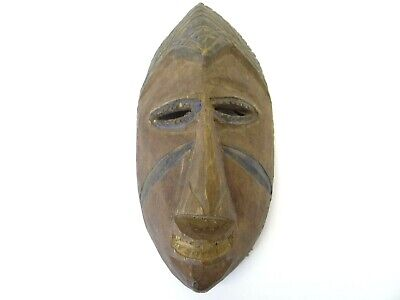 Antique Old Carved Wood African Blue Ceremonial Small Face Mask with Hanger