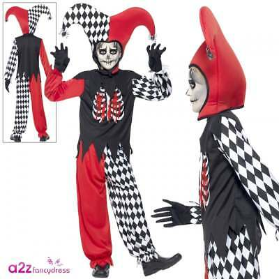Boys Blood Curdling Jester clown Halloween kids dressing up costume Horror outfi