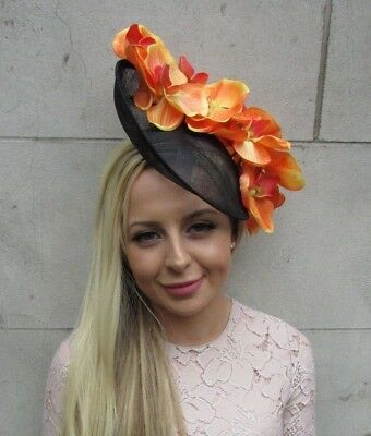 Black Orange Large Orchid Flower Saucer Disc Hat Fascinator Headband Races 5855