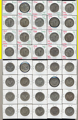Lot Of 20 Standing Liberty Quarters- Includes Scarce Key Dates- No Reserve