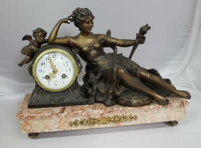Antique French Classical Style Spelter & Rouge Marble Mantle Clock