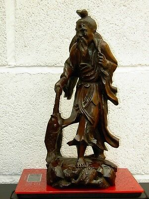 19TH CENTURY JAPANESE CARVED  WOOD FIGURE OF OLD MAN WITH FISH 30.5cm TALL