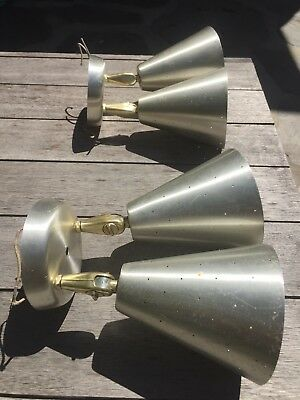 TWO matching double light sconces - atomic Eames mid-century aluminum vintage