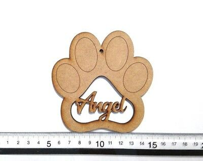 Personalised Paw Print MDF - Paw Print Hanger - Bauble - 4mm Thick- 10cm x 10cm