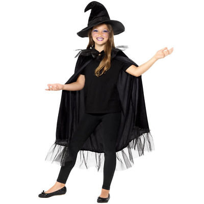 Kids Witch Hat and Cape Costume Kit Halloween Girls Fancy Dress Glitter Smiffys