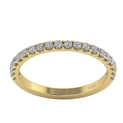 SI1 H 0.55Carat Real Diamond Half Eternity Stackable Ring Band 14Kt Yellow Gold