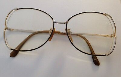 3e8bfad2c43a3 Vintage Tura 423 Brown Silver Gold Oversized Square RX Eyeglass Frames 56-17
