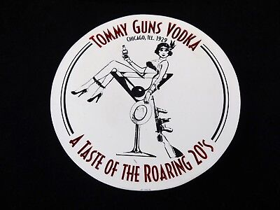 RARE Tommy Guns Vodka Ceramic Stone Coaster Flapper Girl Martini Roaring 20's