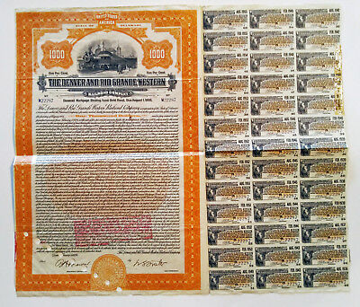 Denver & Rio Grande Western Railroad Co 1924 $1000 Bond with coupons