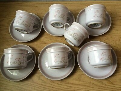 Denby Brittany Cups And Saucers X 6 Plus Jug - 1st Quality