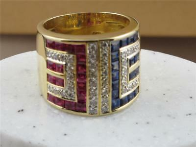 Gorgeous 18K Solid Gold Ring  Rubies/sapphires And Diamonds No Reserve Auction
