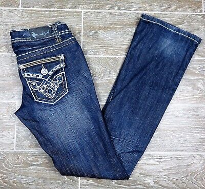 Soundgirl Juniors Distressed Low Rise Boot Cut Stretch Jeans Embellished Sz 3