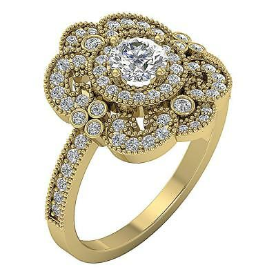 Real Diamond I1 H 1.20Ct Designer Solitaire Halo Engagement Ring 14Kt Solid Gold