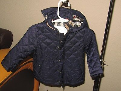 Burberry Baby Boys Navy Water Resistant Quilted Jacket 9M